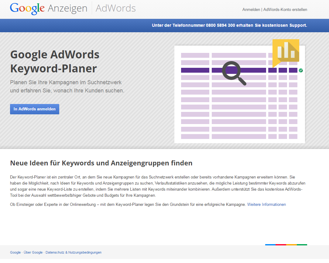 Anmeldeseite des Google AdWords Keyword-Planers