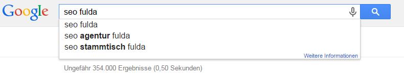 """Google Suggest - die automatische Vervollständigung der Google Suche für """"seo fulda"""""""