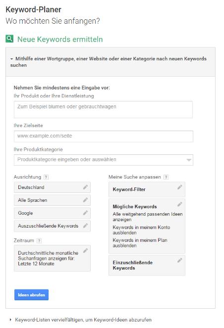 Menü des Google Keyword-Planers