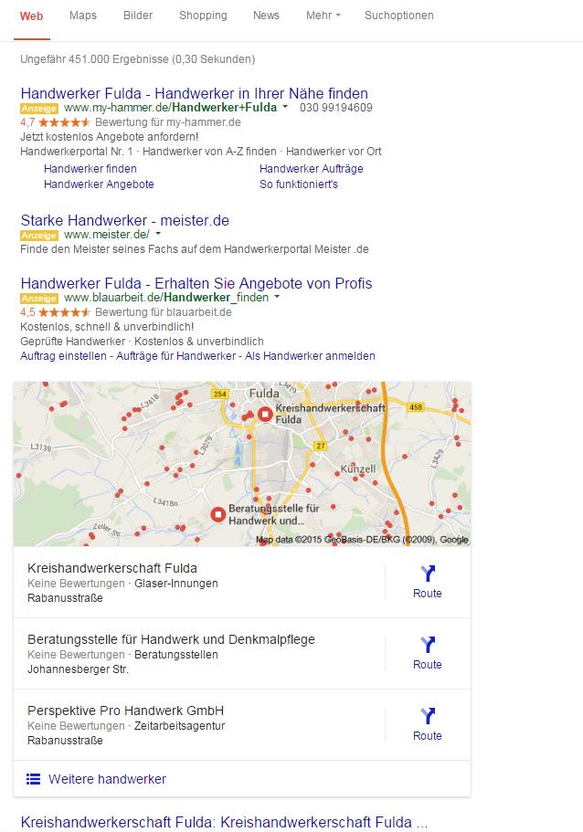 Lokale SEO - Suchergebnisse Maler Fulda - Google My Business