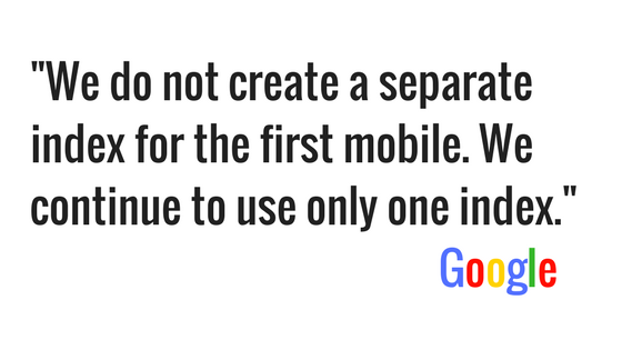 mobile first index one index Google